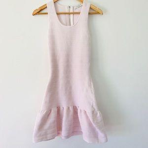 Sandro Baby Pink Sheath Ribbed Cut Out Dress SZ 1
